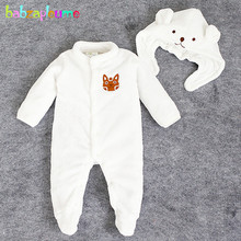 2PCS/0-24Months/Autumn Winter Newborn Rompers Clothing Set Flannel Cartoon Cute Baby Costume Jumpsuit+Hats Infant Clothes BC1392