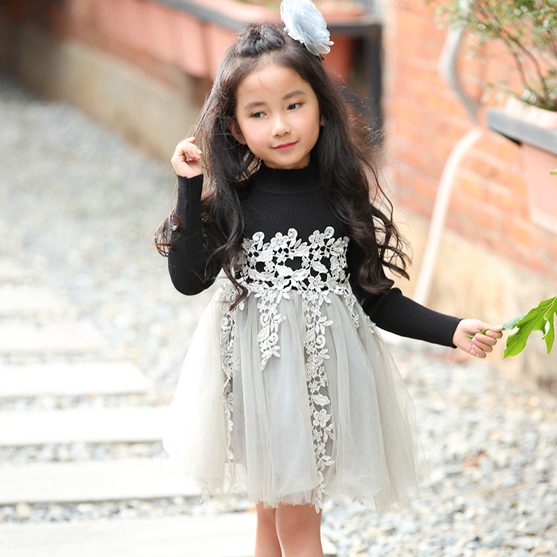 Girls Evening Dress Spring Autumn Baby Girl Lace Party Dress Children Clothes Long Sleeved Girls Princess Dresses Kids Costume qiu dong children dress long sleeved cinderella princess dress love sally dresses of the girls