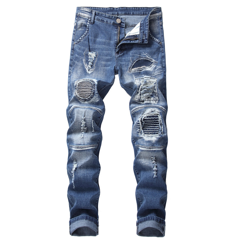 2019 New Men's Hole Repair Slim Light Blue Jeans Two-color Motorcycle Embroidered Men's Denim Pants More Size 28-40 42