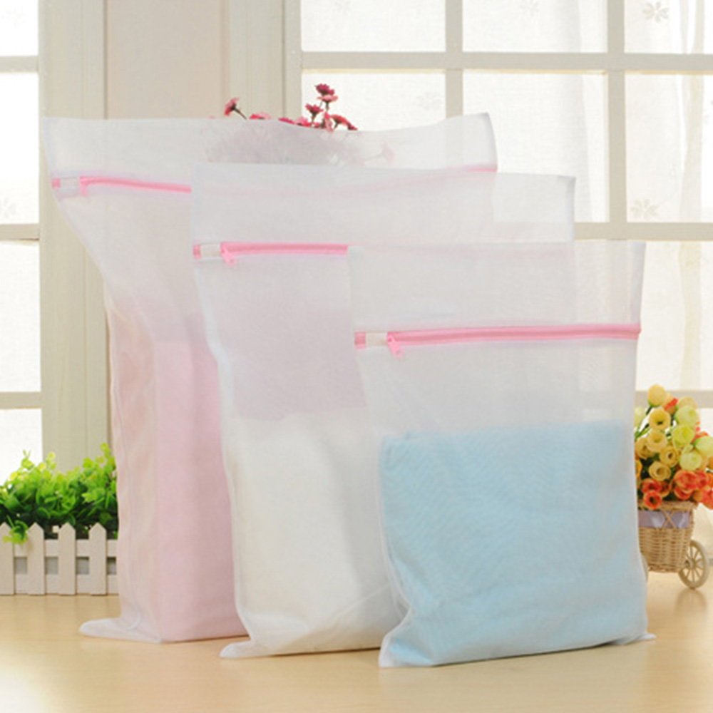 3PCS Set Clothes Washing Net Laundry Mesh Zipper Bag Bra Underwear Sock Wash Bag