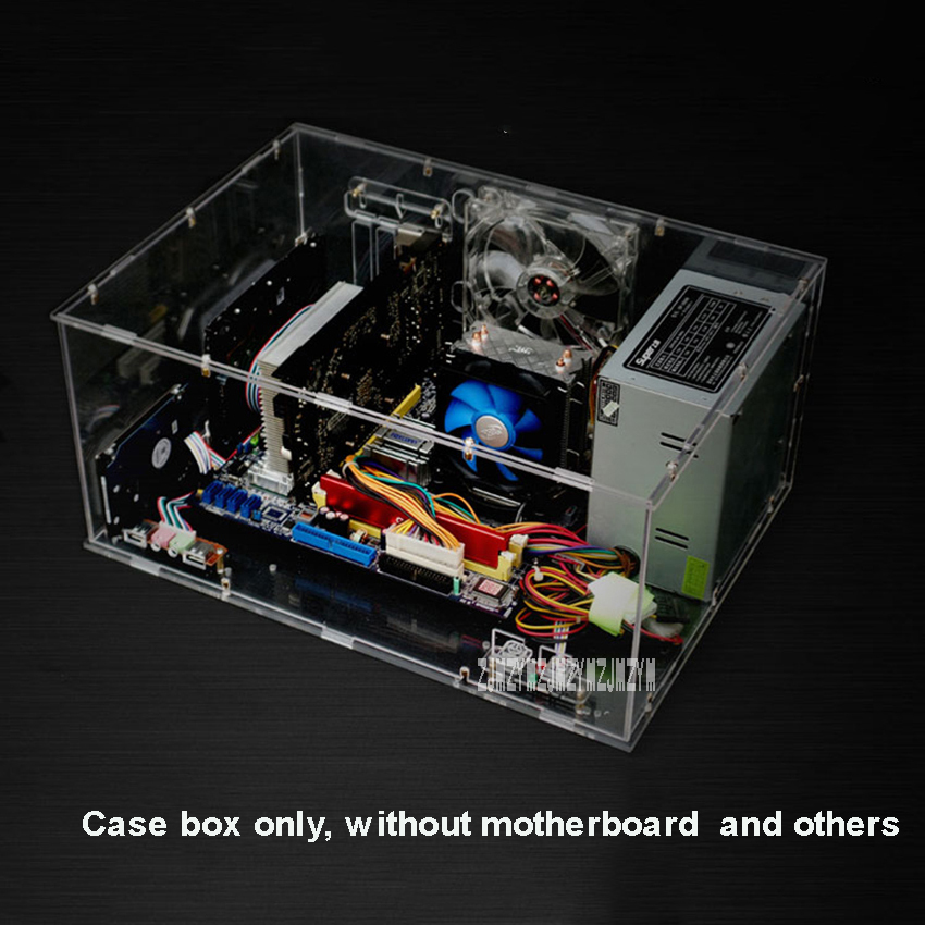 Full Transparent DIY Personalized Acrylic Computer Chassis Case Box Desktop PC Computer Case for ATX Mainboard Motherboard