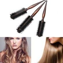 Brosse à cheveux Portable, peigne rond antistatique, Brosse bouclée, poils naturels, manche en bois, peigne pour coiffure