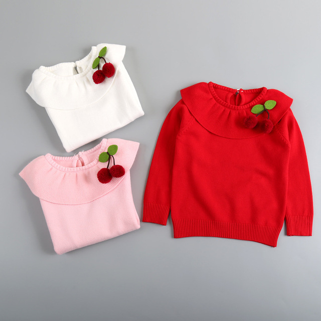 New 2016 girls autumn/spring wear girls sweater children clothes babi girl cherry peter pan collar sweater winter warm outerwear