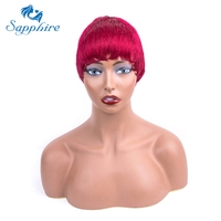 Sapphire Human Hair Short Wigs for Black Women Burgundy Red Wine Short Straight Wig Short Remy Hair Wig Free Shipping