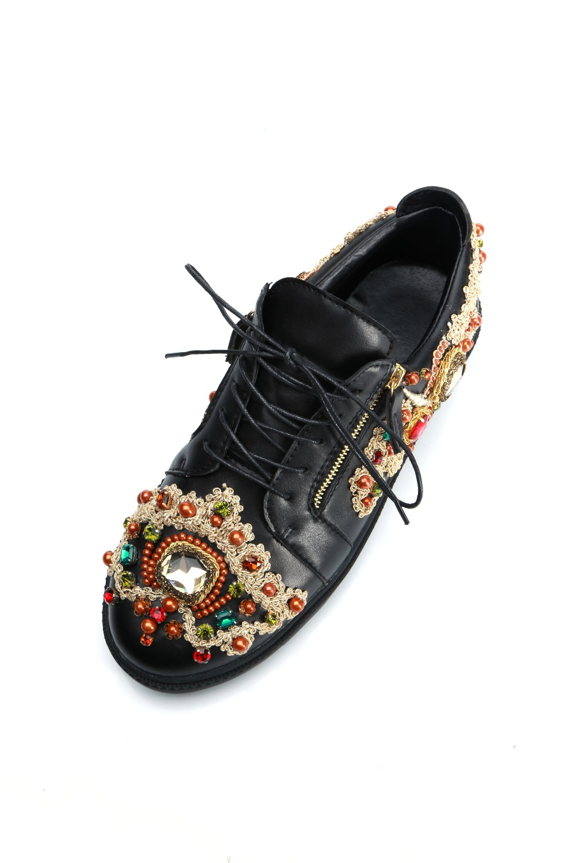 Diseño Zapatillas Cristal Casual Bordar Mujer Picture Mujeres De Señoras Rhinestone Mezclados Las Lace As Lujo Plataforma Zapatos Glitter up Colores BBq41r