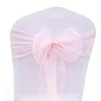 50Pcs Organza Chair Sash FR Stock Solid Color Chairs Bows Cover Wedding Party Events Home Textiles