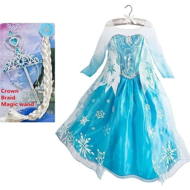 elsa dress girls halloween costumes for kids snow queen cosplay dresses princess anna elza fantasia vestido - Halloween Costumes Of Elsa