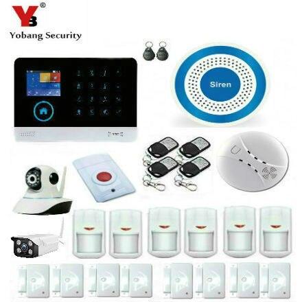 Best Price YobangSecurity WiFi GSM GPRS RFID Wireless Security Alarm System Wireless Indoor Outdoor ip Camera Wireless Siren Smoke Detector