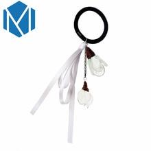 M MISM Korean Style Women Elastic Hair Bands Elegant Girl Ribbon Flower Rubber Bands Ponytail Holder Scrunchy Hair Accessories