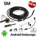 8mm hd720p 5 m câmera à prova d' água ip67 flexível cobra endoscópio android usb otg micro usb android borescope câmera de 2 megapixels