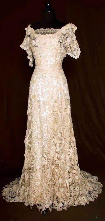 Trained Irish Crochet Gown Victorian Dress Satin Dressla