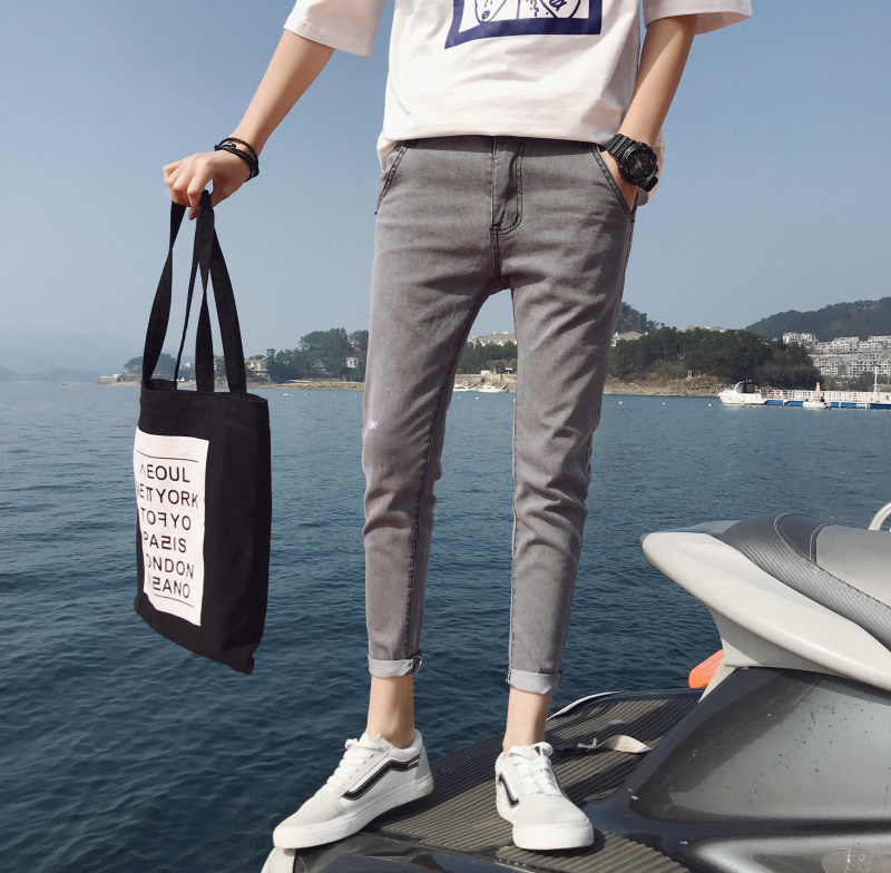 2019 Spring And Autumn Summer New Fashion Jeans Men's Feet Pants Slim Stretch Students Wild Trend Personality Casual Trousers