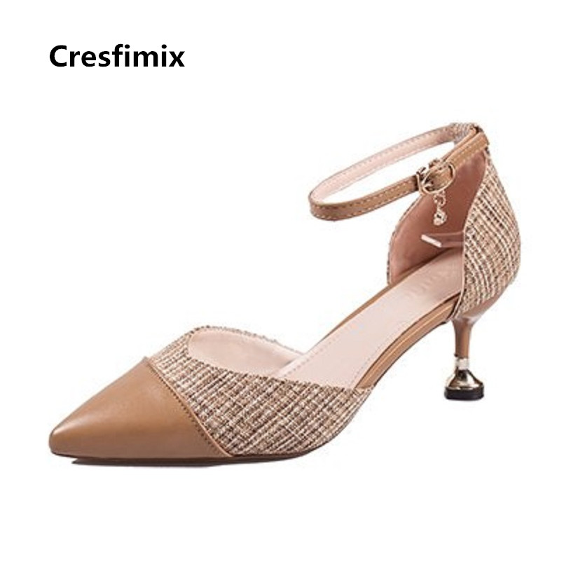 Cresfimix Femmes Talons Hauts Women Cute High Quality Pointed Toe Brown High Heel Shoes Lady Sexy Party High Heel Pumps C2987