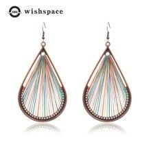 New Bohemia national wind handmade silk thread earrings personality exaggerated winding geometry teardrop-shaped ladies fashion