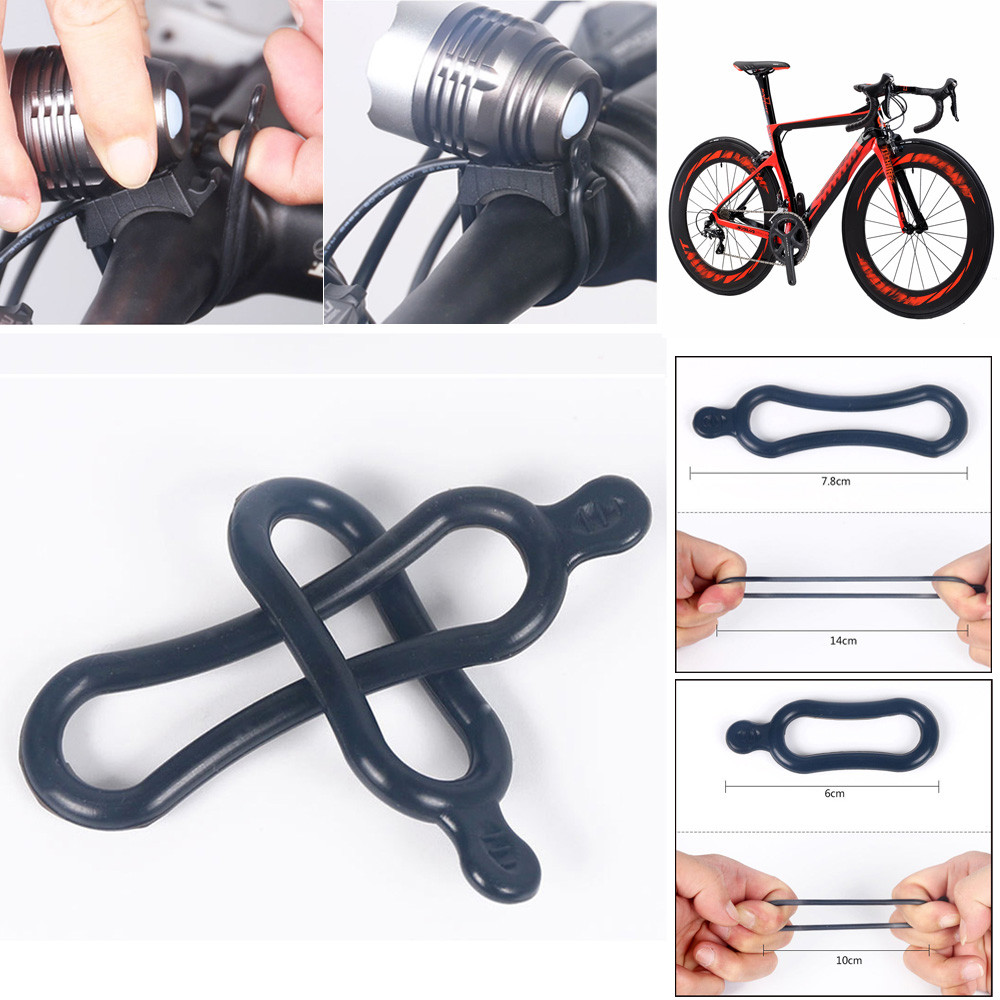 4pcs Silicone Rubber Ring Tie Band For Headlight Bicycle Headlamp JN