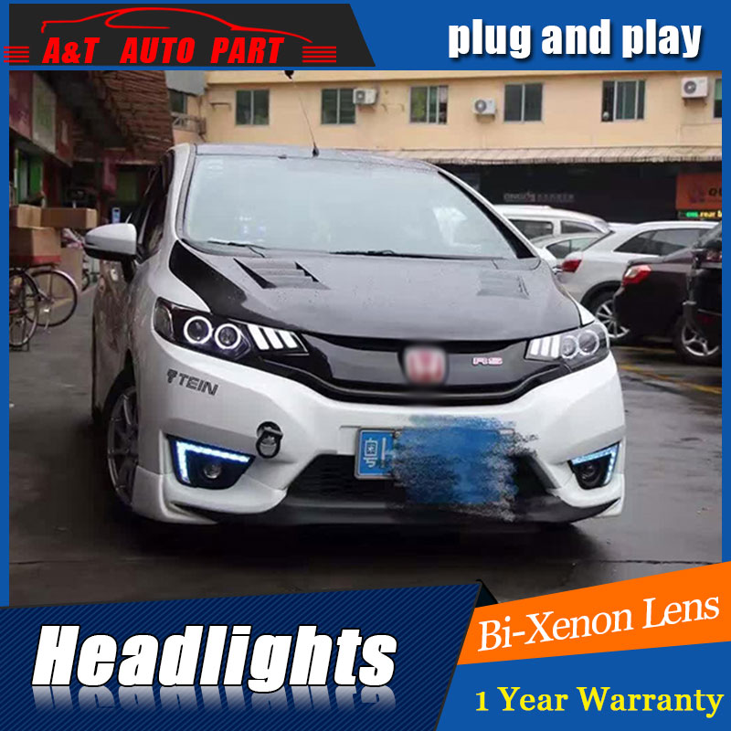 Car Styling for Honda Fit LED Headlights 2014 2015 2016 For Honda Fit Style DRL Lens Double Beam H7 HID Xenon bi xenon lens auto part style led head lamp for porsche 997 series led headlights for 997 drl h7 hid bi xenon lens angel eye low beam