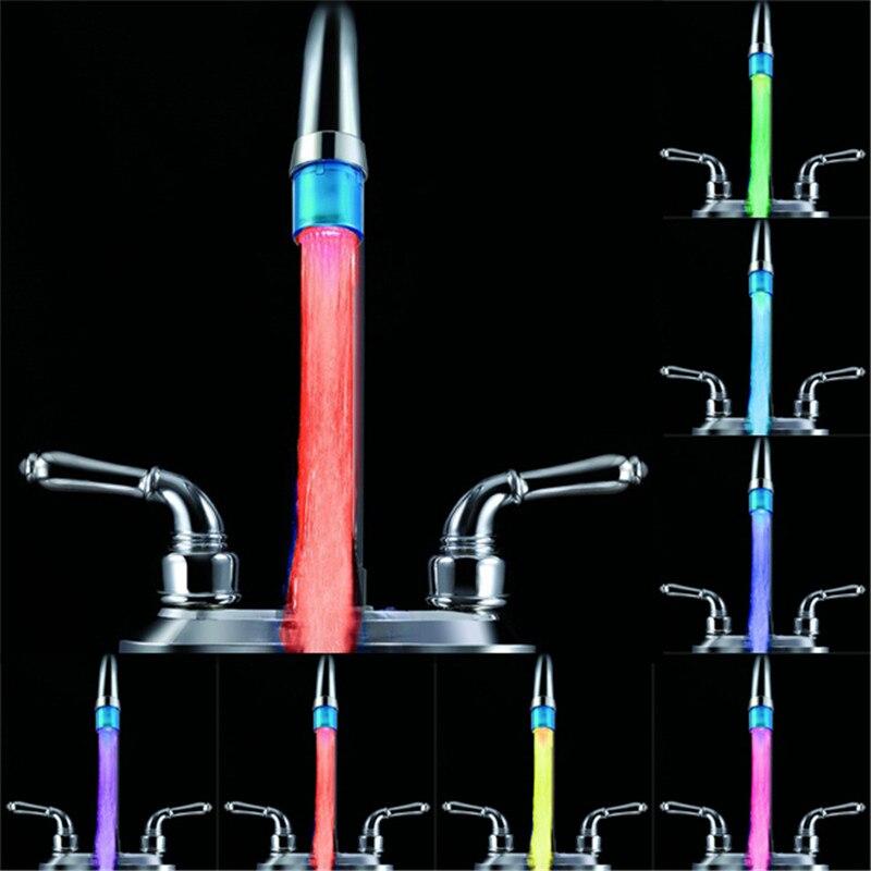 100 шт./лот Аксессуары для ванной комнаты Светодиодные воды кран аэратор 7 цветов медленное изменение света Glow показать легко установить пото...