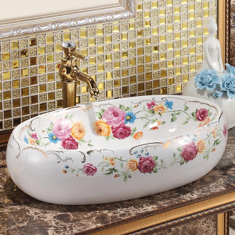 Jingdezhen ceramic sanitary toilet table wash basin wash basin wash basin rose colorful art basin wash