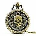 Gunmetal Ожерелье Кварцевые Череп Карманные Часы с Аккумулятором 84.5 см длинные Античная Прохладный Стиль Изящных Ювелирных Изделий Подарки Для Женщин Мужчин