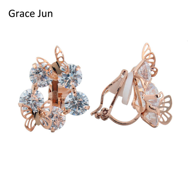 Grace Jun Tm New Design Copper Plated Gold Clip On Earrings Non Piercing Aaa