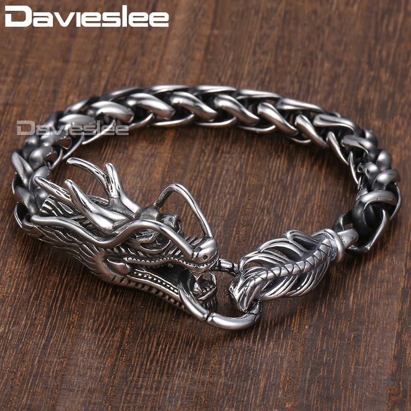 "Davieslee של ראש הדרקון גברים צמיד זכר צמיד החיטה שרשרת קישור 316L נירוסטה פאנק תכשיטים 9 מ""מ 21.5 ס""מ DLHB450"