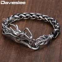 Davieslee 9mm Wide Animal Dragon Head Braid Wheat Chain Link 316L Stainless Steel Bracelet Mens Chain