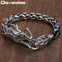 Davieslee 9mm Wide Animal Dragon Head Braid Wheat Chain Link 316L Stainless Steel Bracelet Mens Chain