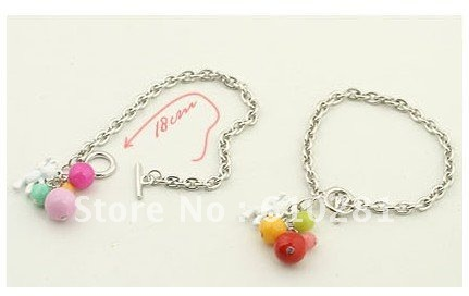 Min.order is $15 bangle! colorful little bear and beads bangle beads bracelet chains jewelry CJ5068