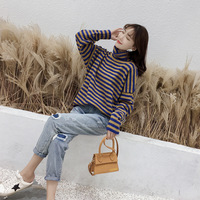 Women Sweater girl's jersey turtleneck pullovers Top female Casual striped jumper Spring Autumn sweater BLUE BROWN