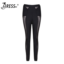 INDRESSME 2017 Fashion Black Mesh Pencil Long Slim Bandage Trousers Women Elastic Sexy Leggings Wholesale