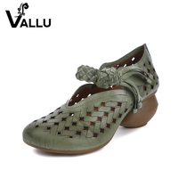 2017 Summer Women Pumps Genuine Leather Handmade Weaving Strap Fretwork Breathable Women Casual Shoes High Heels