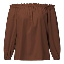 New ZANZEA Women Tops 2017 Autumn Sexy Slash Neck Long Sleeve Ruffles Off Shoulder Blouses Shirts Casual Loose Plus Size Blusas