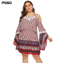 PGSD Spring Summer sexy Big size Retro printing strapless Backless pagoda sleeve Sling short Dress female fashion Women clothes