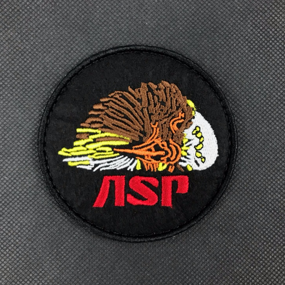 Embroidery ASP Patch Hook Military Brassard Combat Armband Eagle Tactical Patches Army Badge 8cm Black Color