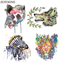 ZOTOONE Heat Transfer Vinyl Patch Sticker Iron On For Clothes Fabric Wolf Patches Backpack Tiger Applique Badge E