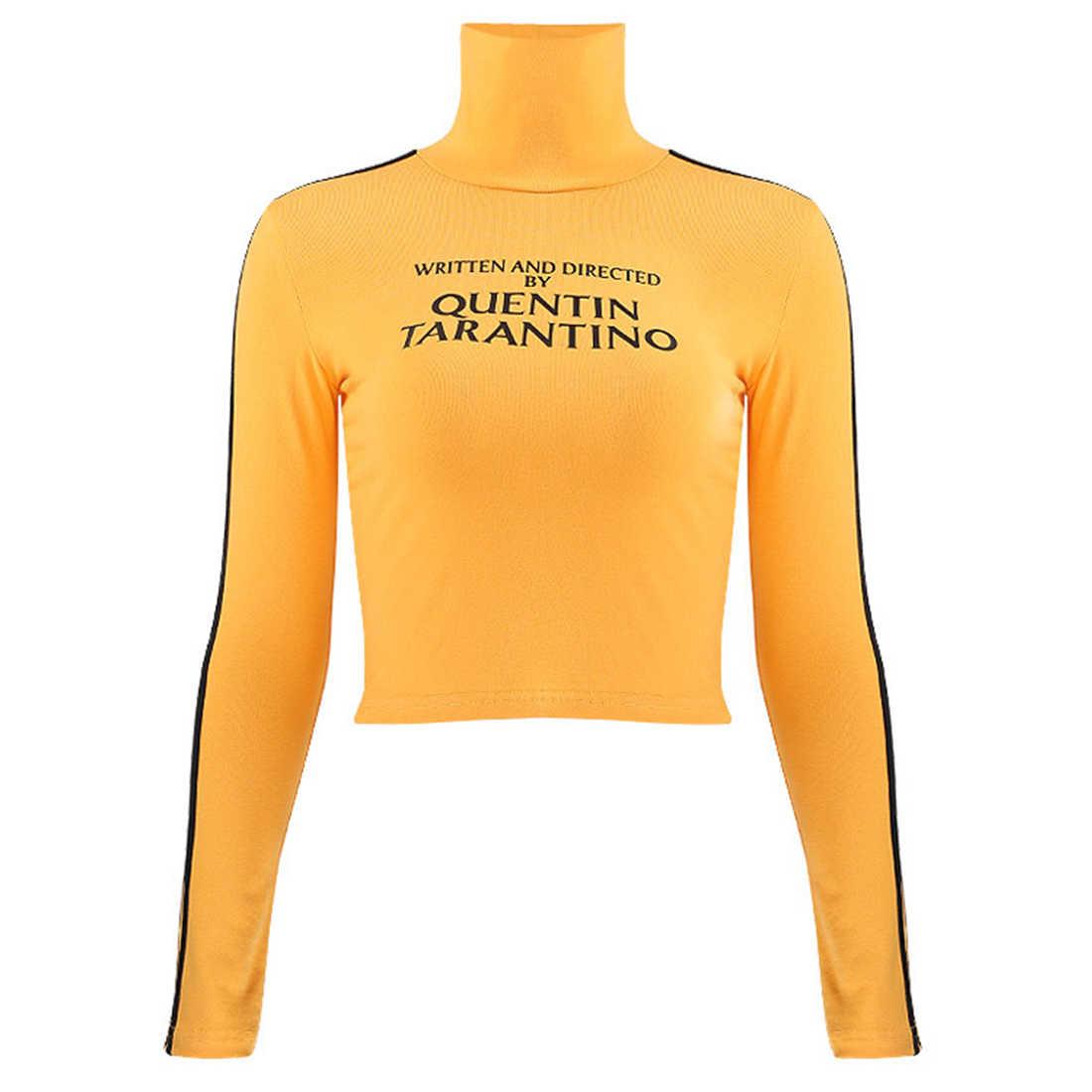 Aelfric 2019 moda Quentin Tarantino Sexy Crop Tops mujer raya lateral manga larga Camiseta cuello de tortuga algodón Camiseta corta señora
