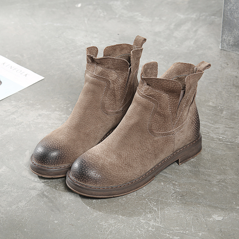 2017 autumn and winter new Chelsea boots women leather Martin boots flat bottomed boots