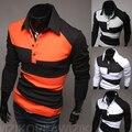 2016 Fashion Brand Polo Camisa de Los Hombres Ropa de Manga Larga de Béisbol camisa de polo de hombres camisas de polo Ocasional Contraste Camiseta