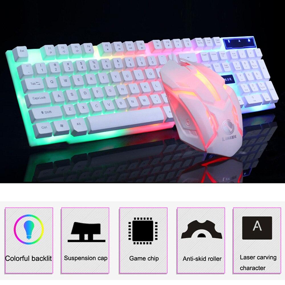 Clavier de jeu coloré LED illuminé rétro-éclairé USB filaire PC arc-en-ciel design anti-dérapant et étanche jeu de souris clavier de jeu