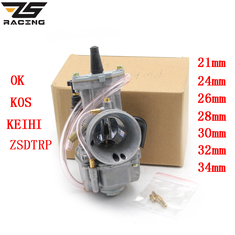 ZS Racing Modified Keihin Koso OKO Motorcycle Carburetor Carburador 21 24 26 28 30 32 34 Mm With Power Jet For Racing Motor ATV