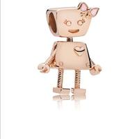 2018 Wholesales 100% 925 Sterling Silver Charm Robot girl Rose Bella Bot Charm Fit Original Brand logo Bracelet Bead Diy Jewelry