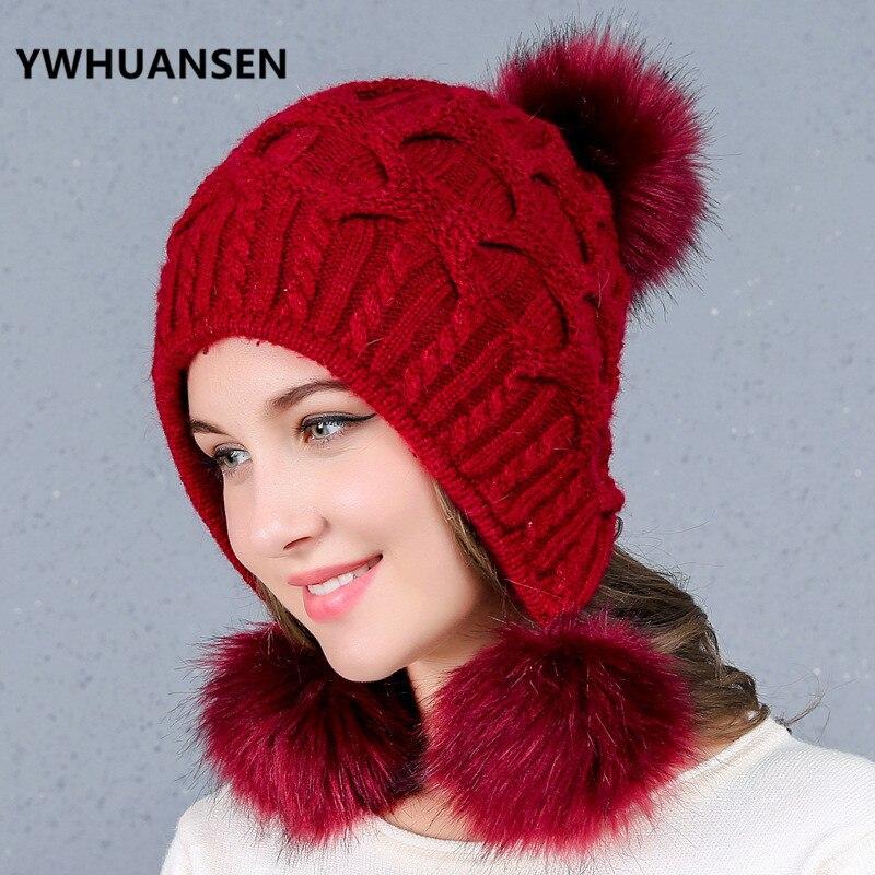 Ywhuansen Dicke Frauen Erwachsene Winter Kappe Faux Kaninchen Fell