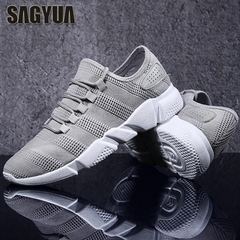 SAGYUA Spring Summer Men Canvas Trendy Air Mesh Male Casual Hombre Walking Board Flats Breathable Flattie Zapatillas Shoes T378