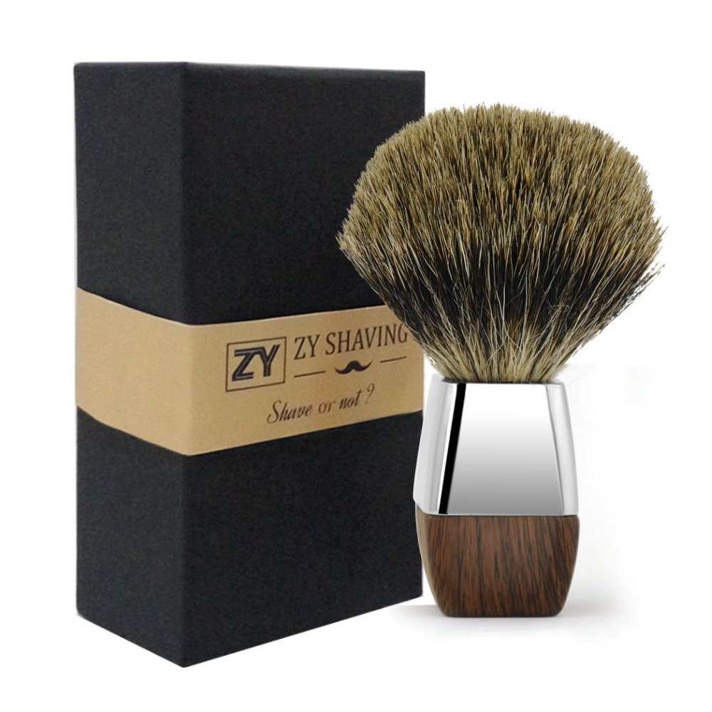 купить ZY Men Shaving Razor Brush Finest Badger Hair Brush For Shave Beard Barber Face Soap Cream Brushes Alloy Handle по цене 1217.16 рублей