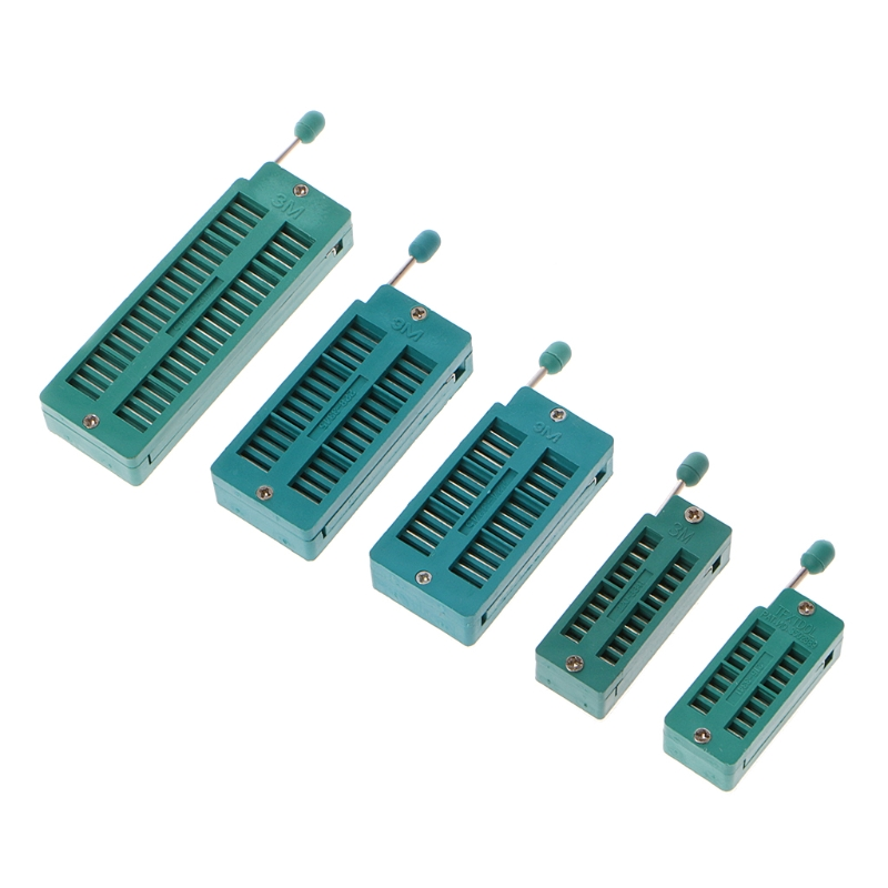 OOTDTY 16 20 24 28 40 P Pin 2.54MM Green DIP Test Universal ZIF IC Socket Welding Type