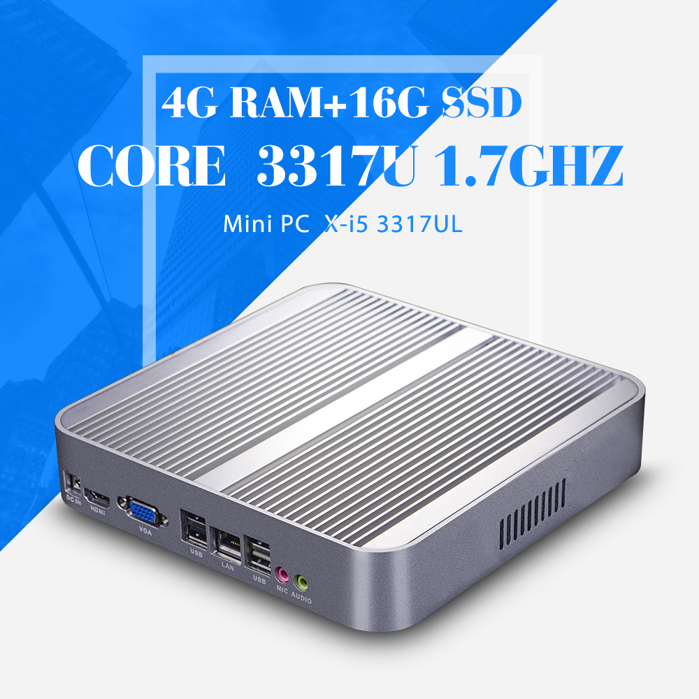 I5 3317U DDR3 4G RAM 16G SSD Fanless motherboard 12V 5A Power adapter HDMI VGA Desktop