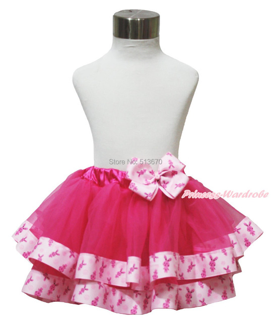 Easter Hot Pink Bunny Satin Trimmed Tutu Baby Girl Pettiskirt & Pink Bunny Bow 1-8Y MADRE0031