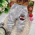2016 Outono novas calças de algodão calças do bebê Bonito dos desenhos animados do bordado para o bebê menino/menina calças largas 0-2 ano calças infantis