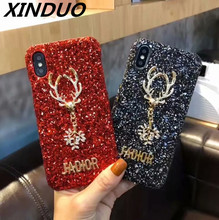 XINGDUO girl love Glitter style case for iphone X XS 6 6S Plus 7 7plus 8 8Plus Personality Patterned Marble cover