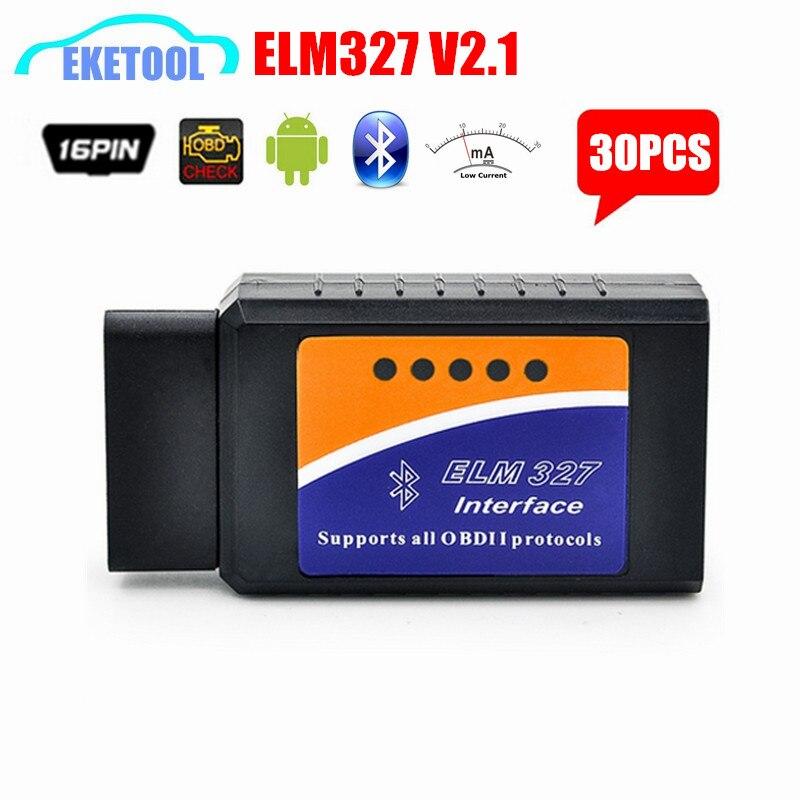 imágenes para Buen Precio 30 unids/lote ELM327 V2.1 OBD OBD2 Herramienta de Diagnóstico Auto Avanzada OBD DEL OLMO 327 V2.1 Bluetooth Multi-Idioma Android/PC